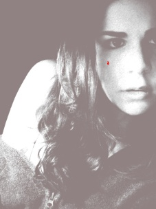 self portrait with red tear