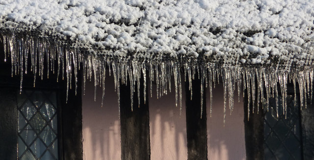 Icicles on eaves